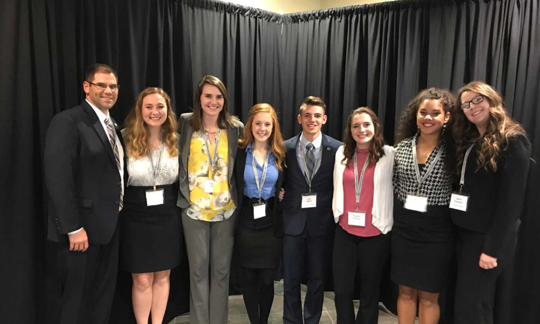 Sport and event management students network at a national conference.