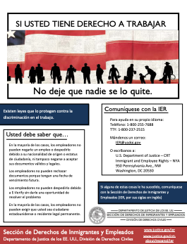 OSC Right to Work Poster Spanish